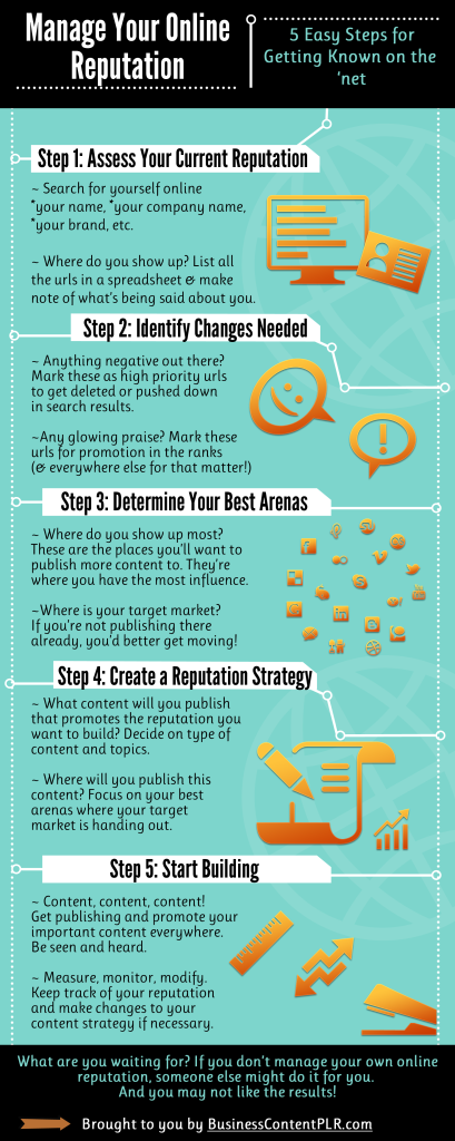 PLR Infographic - Manage Your Online Reputation in 5 Easy Steps