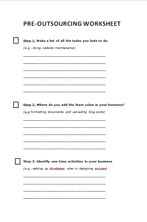 Sample of worksheet created from PLR article