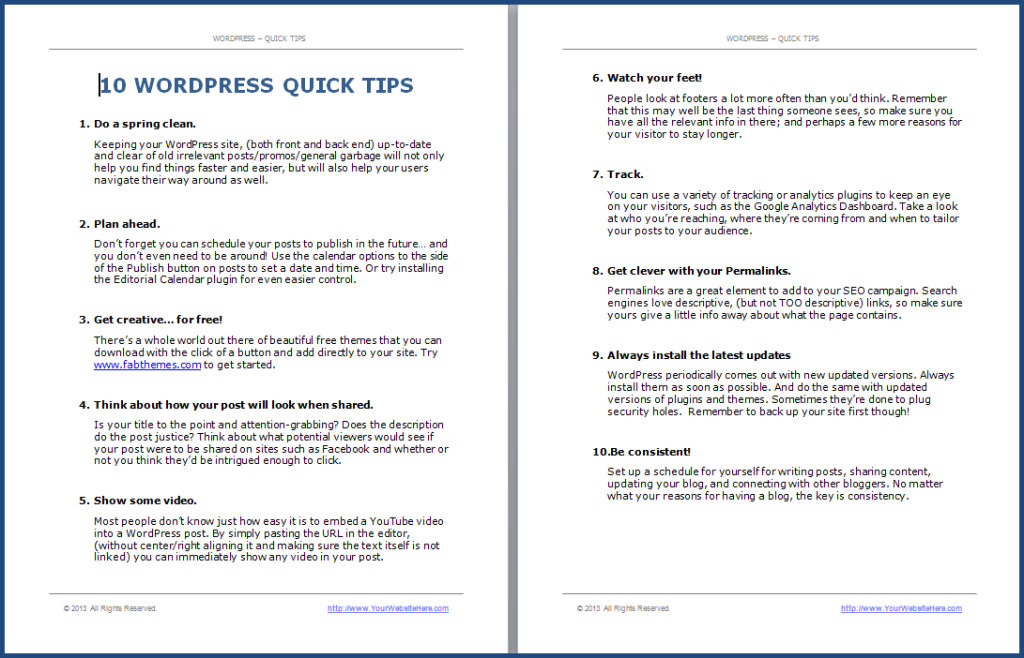 WordPress Quick Tips