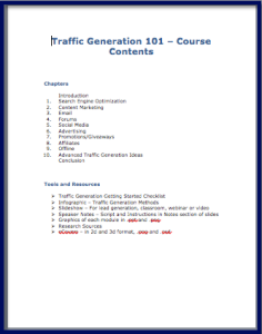 Traffic Generation Course Contents