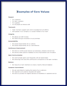 Customer Service Excellence Core Values