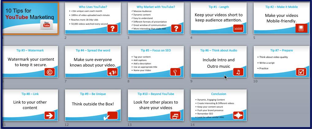 Video Marketing Essentials - YouTube Tips Slideshow
