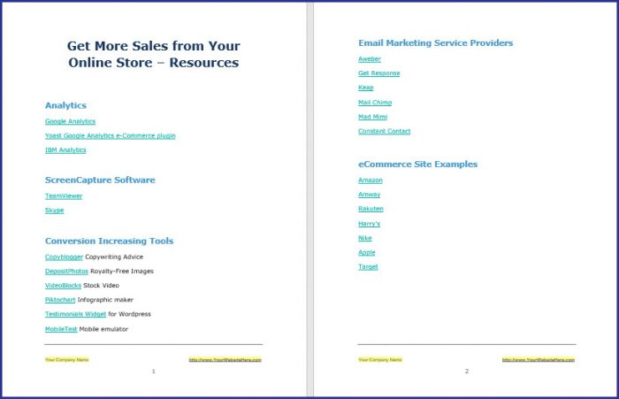 Get More Sales from Your Online Store - Resources