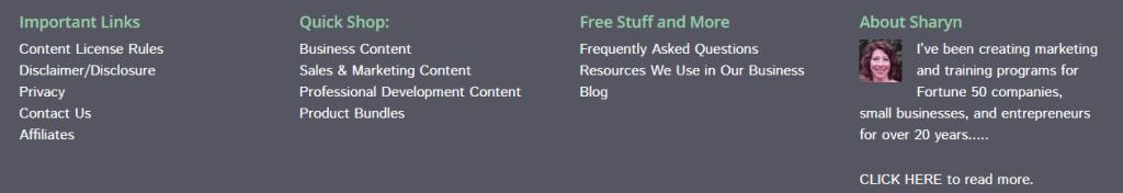 screenshot of bottom menu