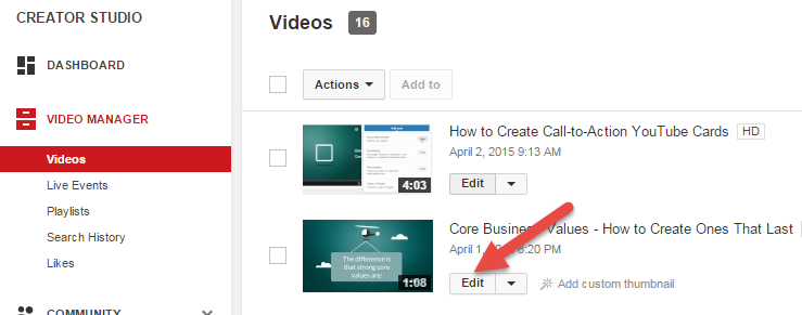 Select video to edit