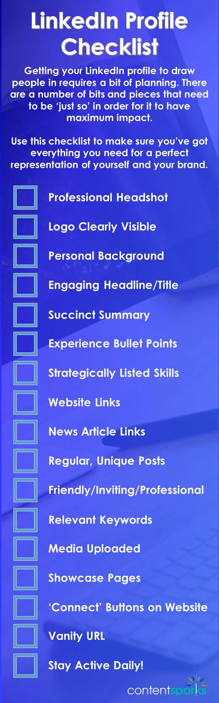 Checklist for LinkedIn Profile