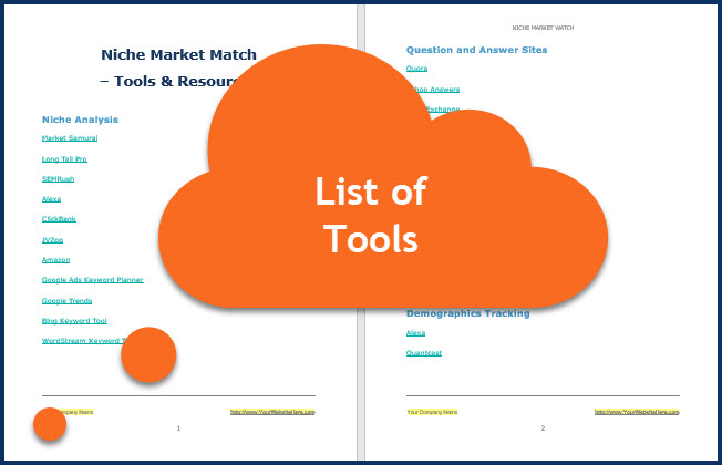 Niche Market Match - List of Tools