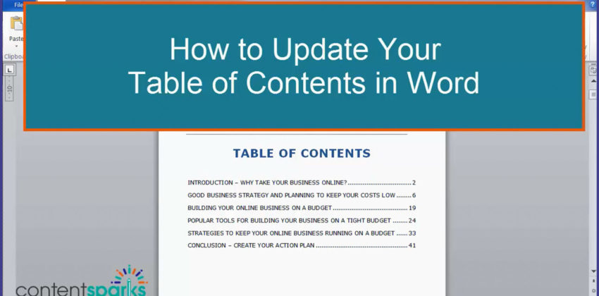 How to Update Your Table of Contents in Word