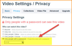 vimeo password protect
