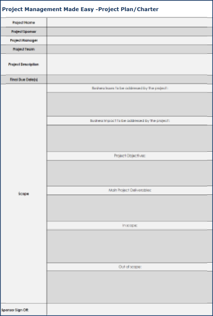 Project Management Made Easy - Project Template Spreadsheet