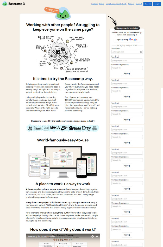 Basecamp - great home page example