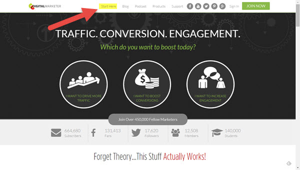Digital Marketer - great home page example