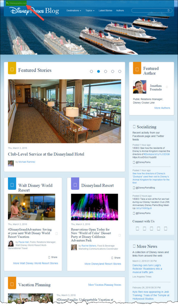 Disney Parks - great example of business blog
