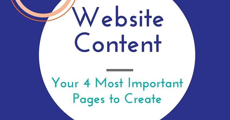 Website Content – Your 4 Most Important Pages to Create