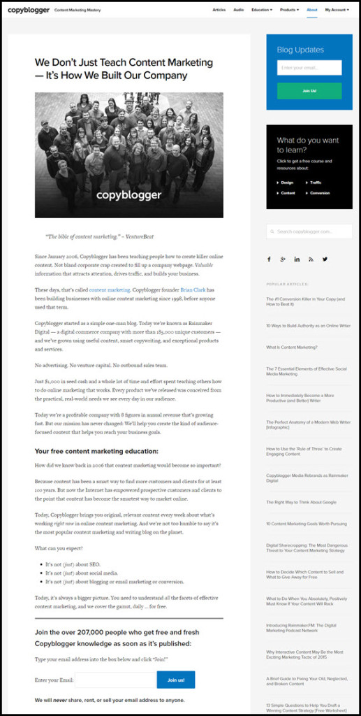 Copyblogger - example of great About page
