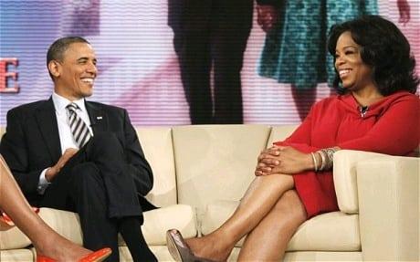 Oprah interviewing Obama