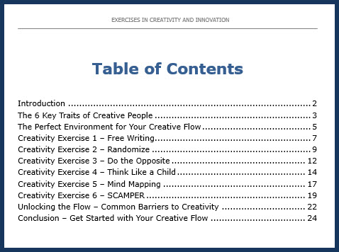 Exercises in Creativity and Innovation - Table of Contents