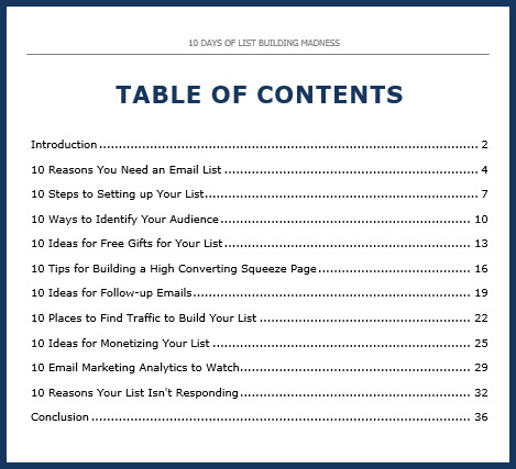 List Building Course Table of Contents