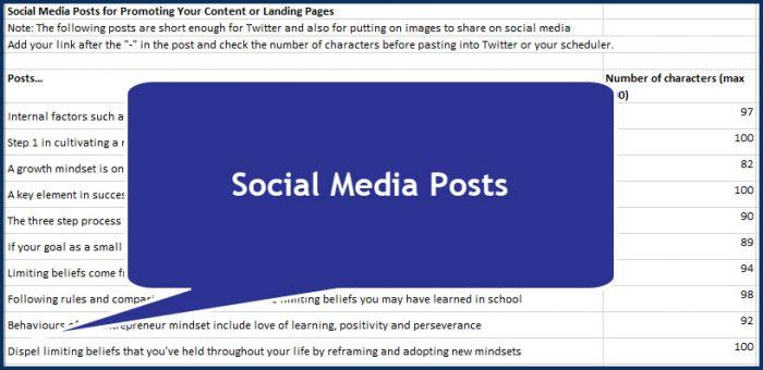 Success Mindset for Entrepreneurs - Social Media Posts