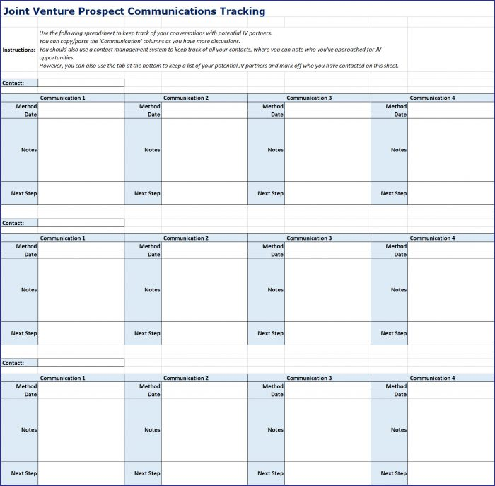 Creating Profitable Partnerships - Prospect Tracking Spreadsheet