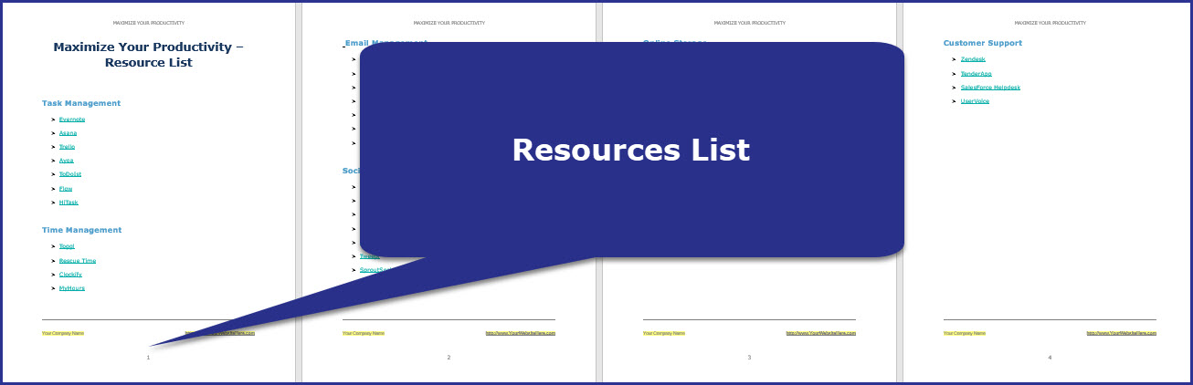 Maximize Your Productivity - Resources List