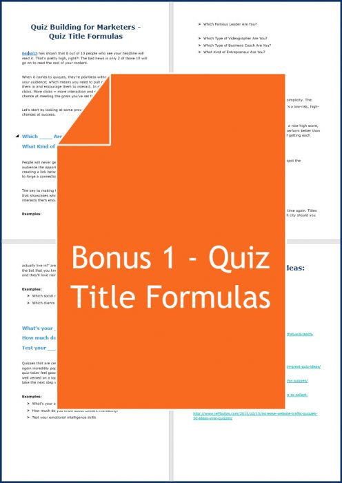 Quiz Building for Marketers - Bonus 1 Quiz Title Formulas