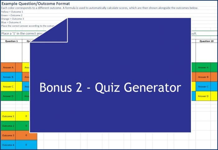Quiz Building for Marketers - Bonus 2 Quiz Generator Spreadsheet