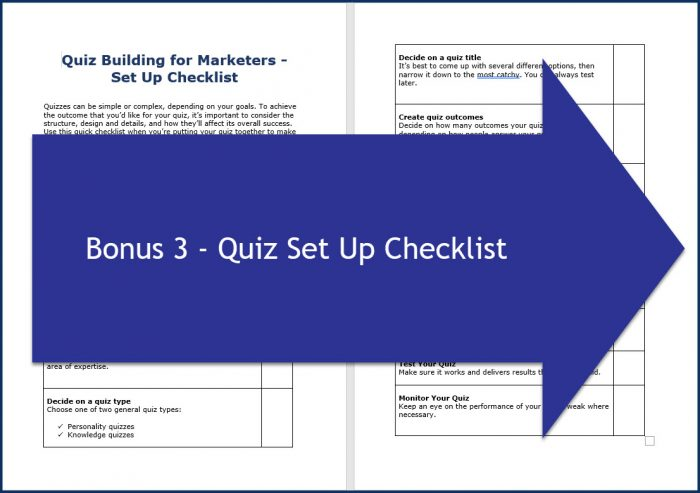 Quiz Building for Marketers - Bonus 3 Quiz Setup Checklist
