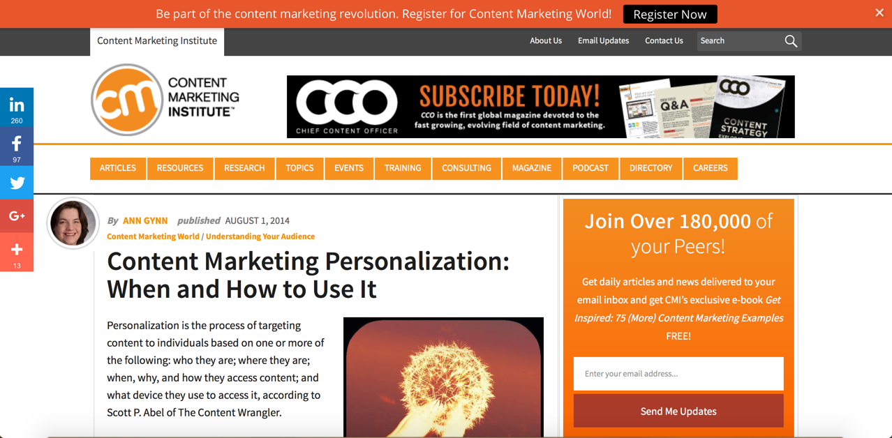 personalized content - content marketing institute