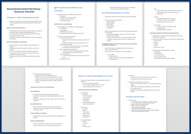 Personalized Content Marketing checklist