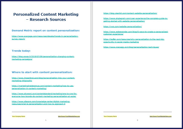 Personalized Content Marketing - Research Sources