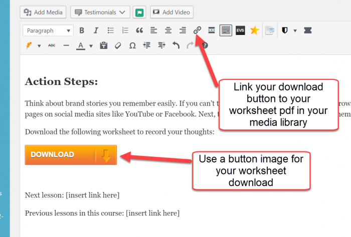 button for download