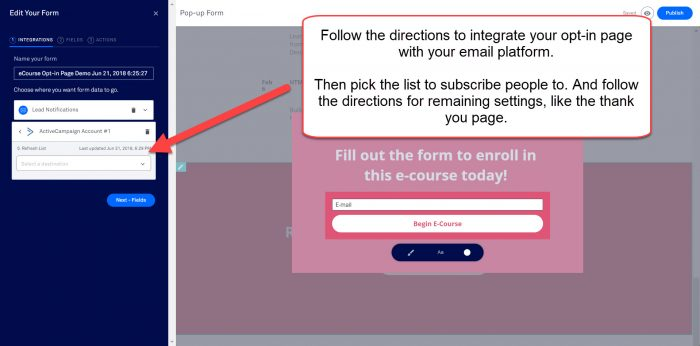integrate opt in page with email list