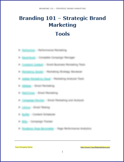Strategic Brand Marketing - Tools