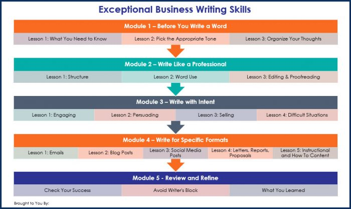Essential Business Writing Skills - Overview Infographic