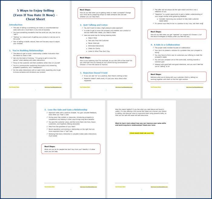 Sales Skills - Opt In Cheat Sheet