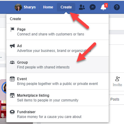 Image of creating Facebook Group