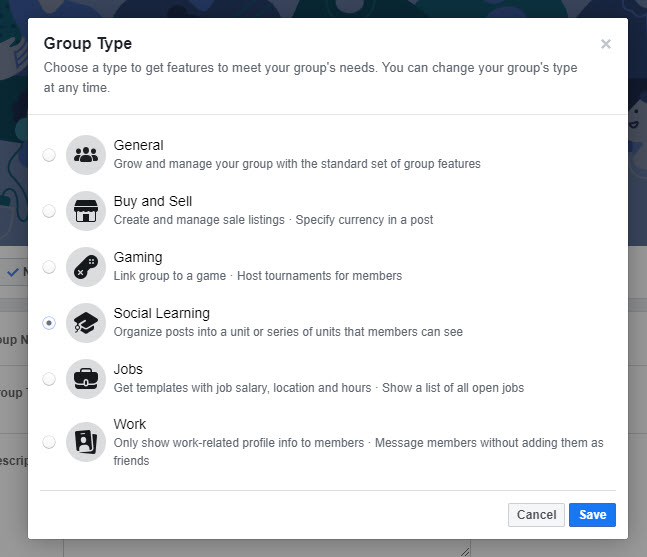 Edit Group type to be Social Learning