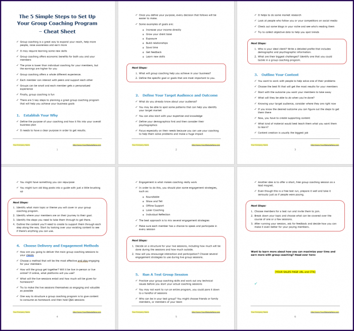 Create Your Group Coaching Program - Opt-In Cheat Sheet