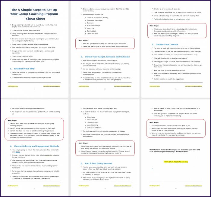 Create Your Group Coaching Program - Opt-In Cheat Sheet