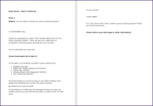 Create Your Group Coaching Program Report FollowUp Email 1