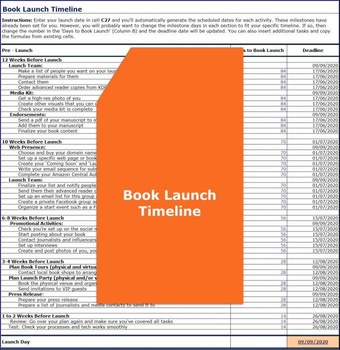 Promote & Market Your Business Book - Book Launch Timeline