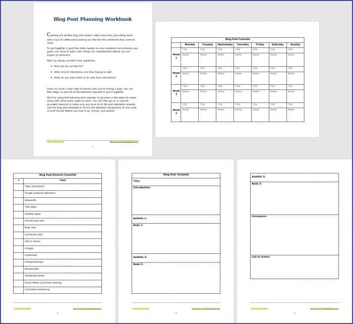 Blog Post Planning Workbook