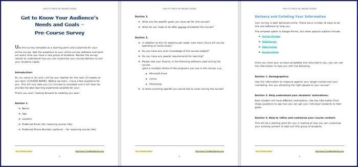 How to Teach an Online Course - PreCourse Survey