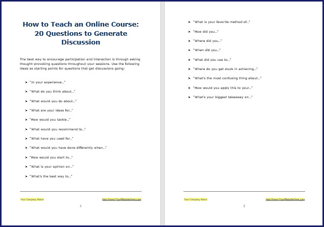 Tips for teaching online courses - 20 Questions to Generate Discussion