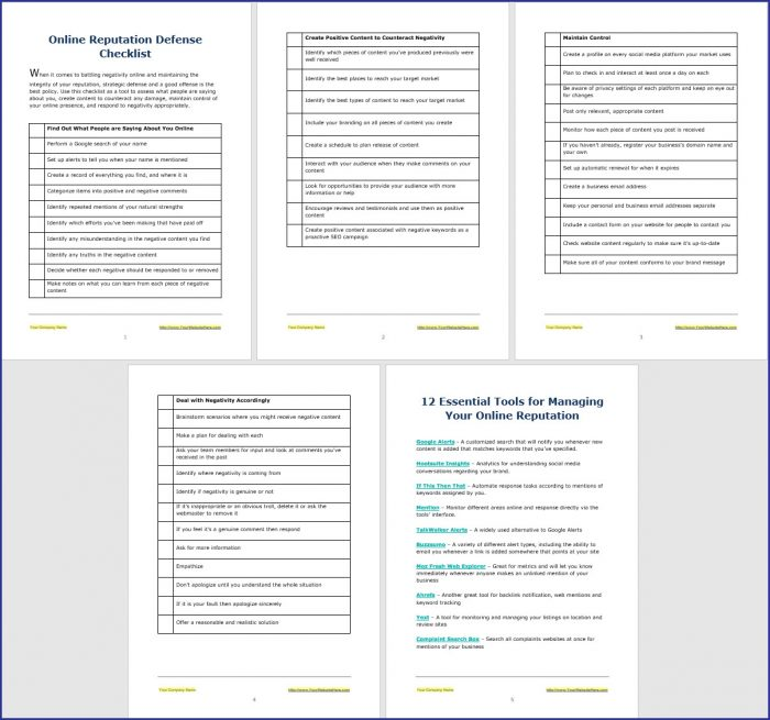 Online Reputation Defense Checklist