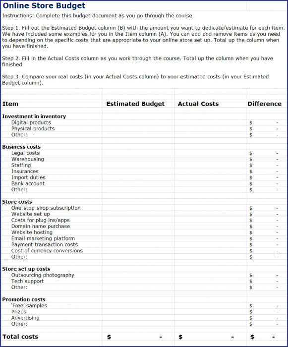 How to Start an Online Store - Online Store Budget Spreadsheet