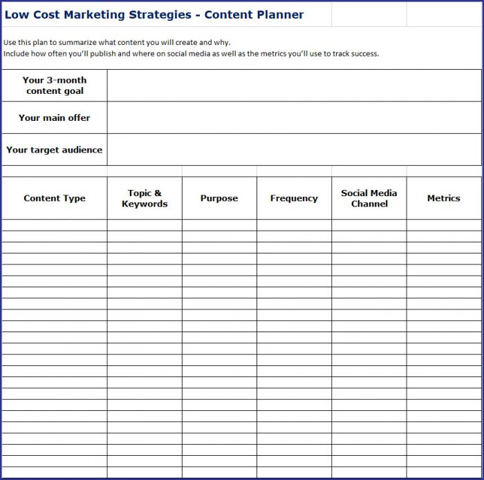 Low Cost Marketing Strategies - Content Planner