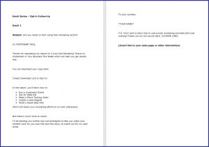 Low Cost Marketing Strategies - OptIn Follow Up Email 1