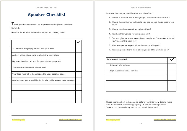 Virtual Summit Success - Summit Speaker Checklist